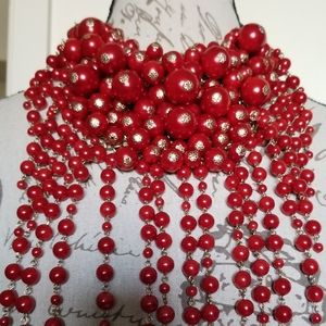 Fiery Red Pearl Statement necklace with earrings